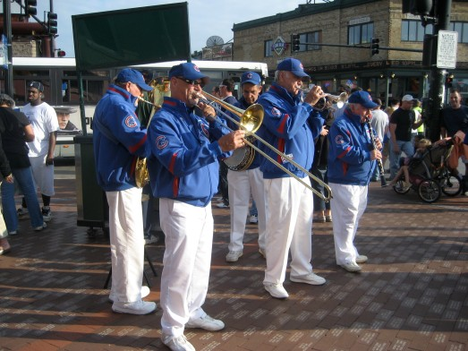 Dixieland band in front of Wrigley