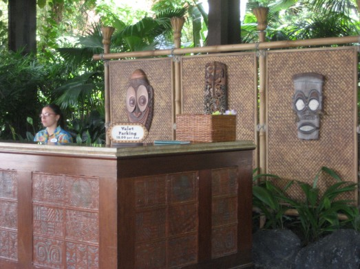 Tikis watching over the valet parking station