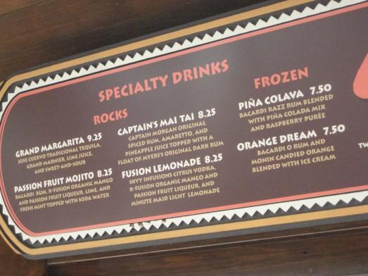The menu at the Barefoot Pool Bar