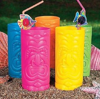 Plastic tiki mugs