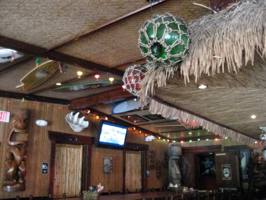Glass floats and thatch decorating WaiTiki