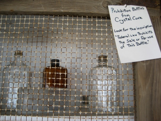 Prohibition bottles from Crystal Cove