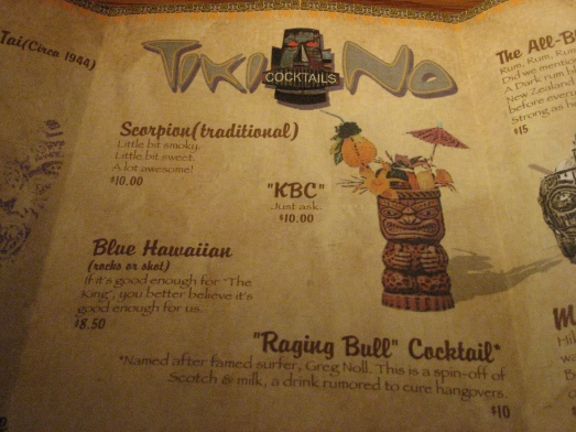 Tiki No drink menu