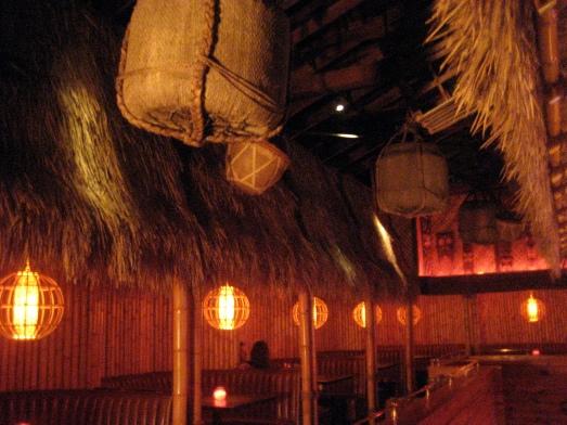 Bamboo booths at Tiki No