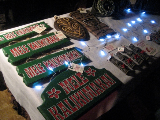 Mele Kalikimaka signs by Lake Surfer